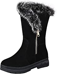 Women Snow Boots Winter, Ladies Solid Ankle Short Boots Warm Shoes Flats Shoes