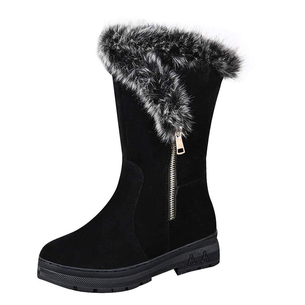 SSUPLYMY Damen Winterstiefel Bequeme Plus Samt Schneeschuhe Winter Warme Mittlere Stiefel rutschfeste Flache Wildleder Stiefel Mode Casual Bootie