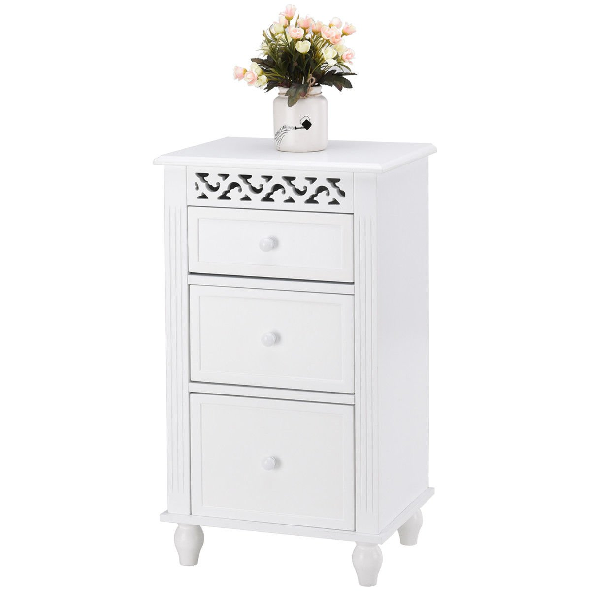 Giantex Storage Floor Cabinet W/One Cabinet Two-Layer Adjustable Shelves & One Drawer Wood Bathroom Cupboard Organizer Kitchen Collection Cabinet Shelf Nightstand Beside End Table White (2 Drawer)