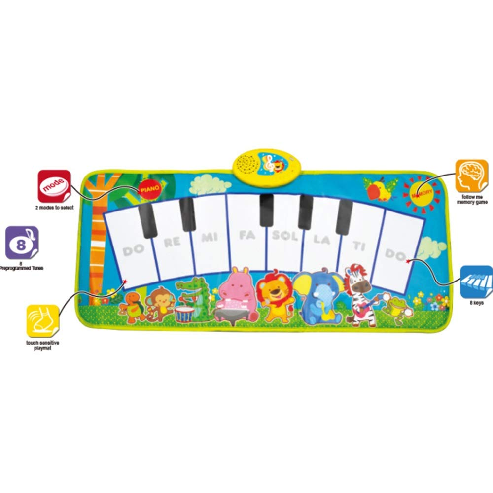 Play Keyboard Mat Cartoon Animals 32 Inches 8 Keys Foldable Floor Keyboard Piano Dancing Activity Mat Musical Keyboard Playmat With Demo Memory Play Touch-sensitive Step And Play Instrument Toys For T by GAOCAN-gq (Image #3)