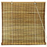 Oriental Furniture Burnt Bamboo Roll Up Window Blinds, Tortoise, 48-Inch Wide by ORIENTAL FURNITURE