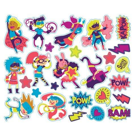 72 Superhero Peel Off Foam Stickers~Arts /& Crafts~Scrap booking~School from Darice