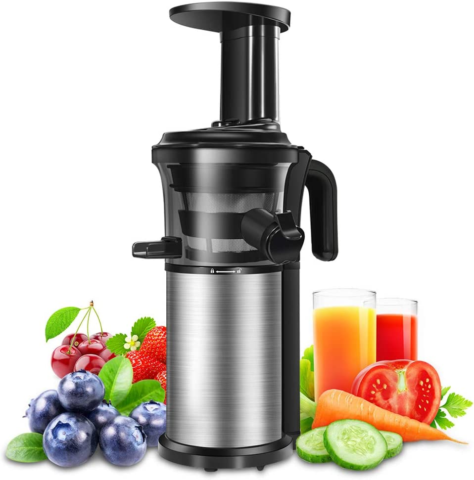 Juicer Machine Portable Vertical Cold Press Juicers BPA-free Reversal Function Slow Masticating Juice Extractor with Clean Brush and Juice Jug