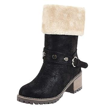 LuckyGirls Botas para Mujer Pelusa Vellón Remaches Hebilla Botines Moda Botas Casual Calzado Zapatillas Zapatos de Tacón 6cm: Amazon.es: Deportes y aire ...
