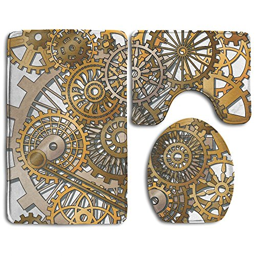 SarahKen Bathroom Rug Clock Decor The Gears In The Style Of Steampunk Mechanical Design Engineering Theme Gold And Brown 3 Piece Bath Mat Set Contour Rug And Lid (Betty Boop Round Clock)