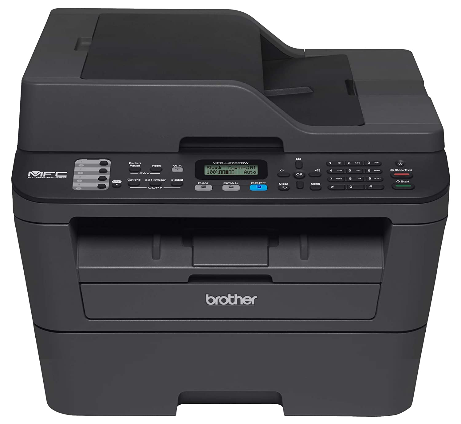 Brother International EMFCL2707DW Brother Certified Refurbished EMFC-L2707DW- Black -Monochrome Laser All-in-One with Wireless Networking MFC-L2707DW