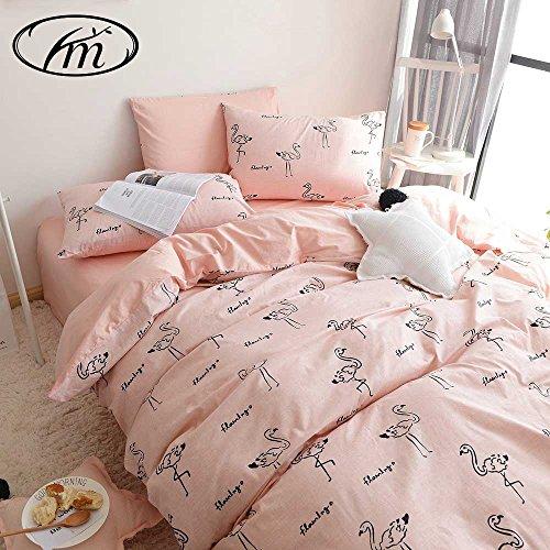 VM VOUGEMARKET 3 Pieces Cotton Duvet Cover Set with Flamingo