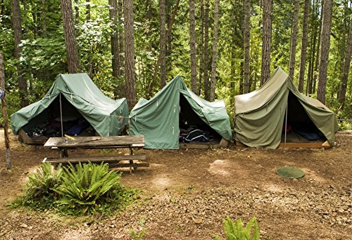 CSFOTO 7x5ft Boy Scouts Backdrop Summer Camp Photography Background Forest Camping Campground Canvas Tents Jungle Picnic Hiking Outdoors Travel Adventure Trip Photo Booth Studio Props Wallpaper