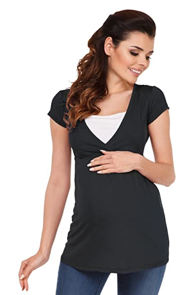 Zeta Ville - Jersey 2 en 1 Enfermería T-shirt Top de maternidad - mujeres