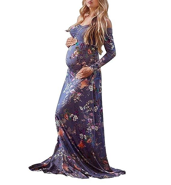 Vestido De Maternidad con Falda Larga Mujeres con Mujeres Vintage ...