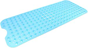 "DII Anti-Slip Non Slip Allergen-Free Extra-Long Mildew Resistent Vinyl Shower, Bathtub Mat 15.75x39"" with Safety Grip Suction Cup, Large Blue"