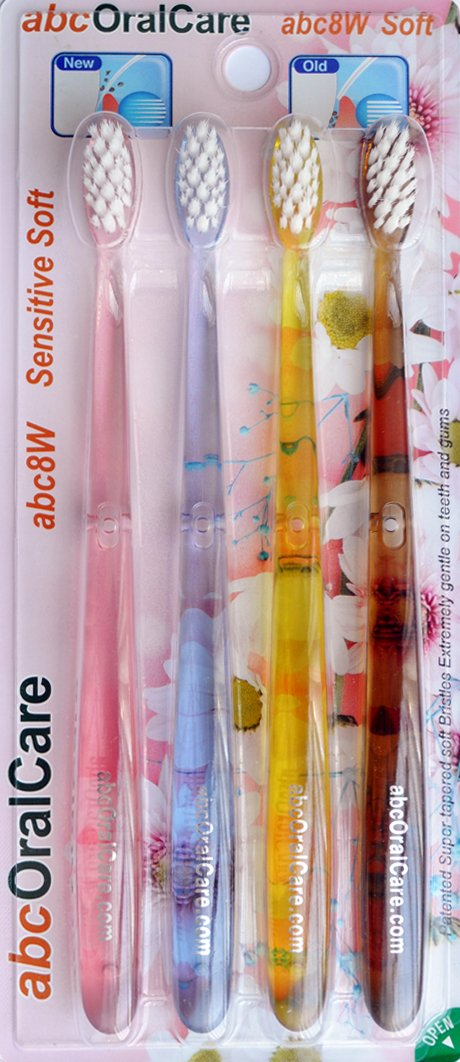 abcOralCare, New Generation US Patented, Non Nylon, Tapered, Soft, and Ultra Fine Bristles abc8W 4 Manual Toothbrushes