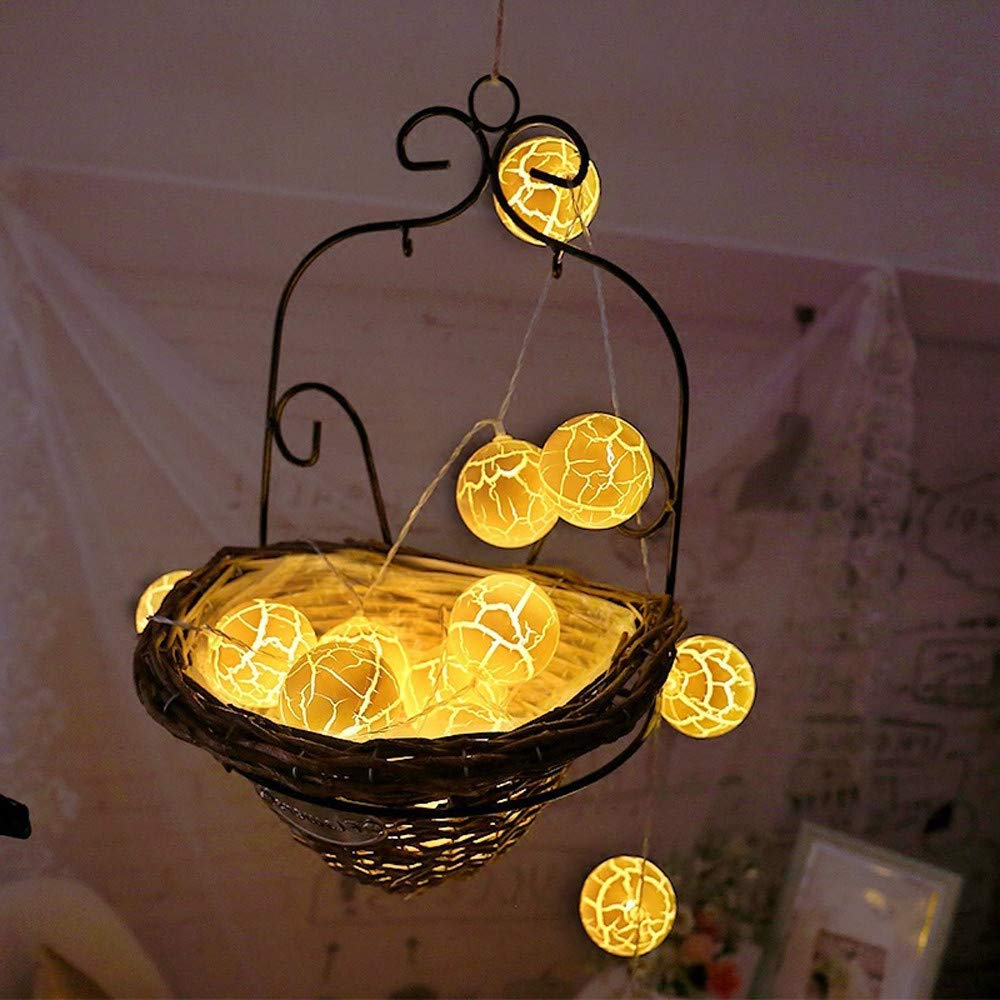 Glumes LED Crack Ball String Lights Fairy Lights |10 Lamp|1.5 m |Hanging Indoor Outdoor Decoration for Christmas Party Xmas Wedding Holiday Birthday Garden Patio Bedroom Home Decor (★Yellow★)