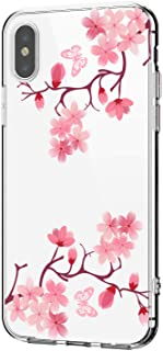 Riyeri Hülle Compatible with Apple iPhone Xr Hülle Cover iPhone Xs Handyhülle Schutzhülle Transparent Blume Muster Weich TPU Silikon Case für Apple iPhone Xs Max Mobile Phone (iPhone X, 24)