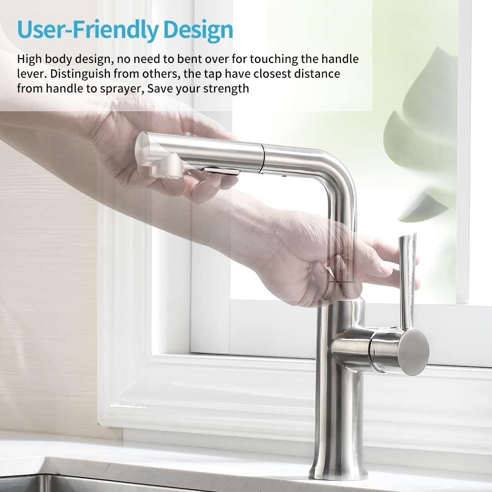Kitchen Faucet with Pull Out Sprayer in Stainless Steel, Crea Pot Filler Faucet with Magnetic Pull Out Sprayer, Bar Sink Faucet - -