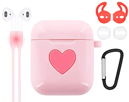 49679afea12 AirPods Pink Case Heart, 5 in 1 AirPods Accessories Kits Airpods Skin Pink  Heart Silicone