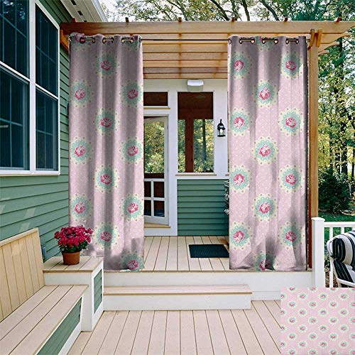 - leinuoyi Shabby Chic, Outdoor Curtain Ends, Retro Style Polka Dotted Backdrop and Floral Motifs Roses Cottage, Balcony Curtains W96 x L108 Inch Baby Pink White Seafoam
