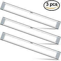 Aglaia lámpara LED Armario Kit 9 W, 3 luz descendente ultrafina con 6000 K fría Color Blanco para Cocina, estantería, armario de pared Gabinete, Buhardilla, Piso