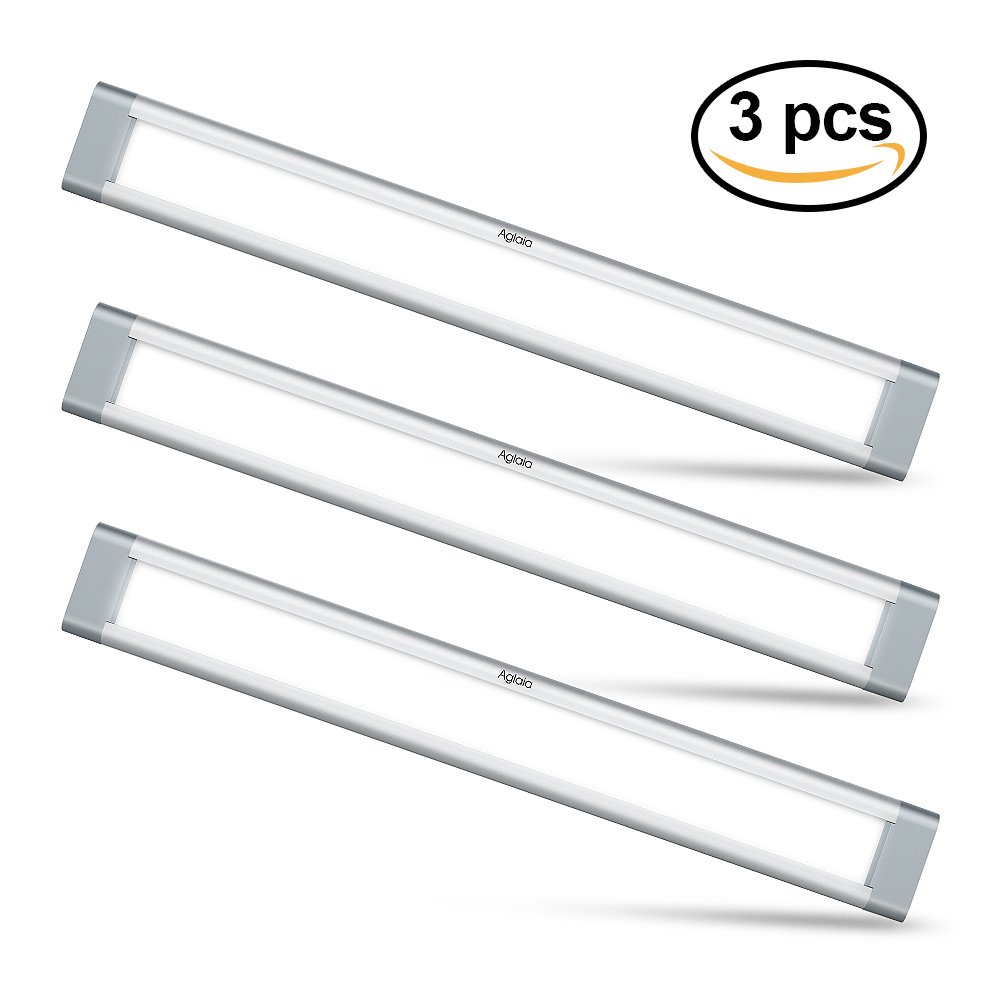 LED Under Cabinet Lighting, Aglaia Dimmable Under Cupboard Light LED 9W 6000K Ultra Thin Closet Light Bar for Kitchen Shelf Locker Show Case(3 Pack)