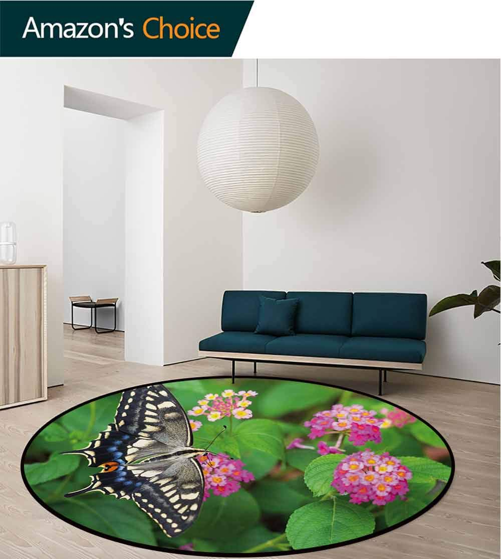 RUGSMAT Swallowtail Butterfly Non-Slip Area Rug Pad Round,Rare Butterfly On Blooming Spring Flowers Ecology Nature Theme Protect Floors While Securing Rug Making Vacuuming,Diameter-51 Inch