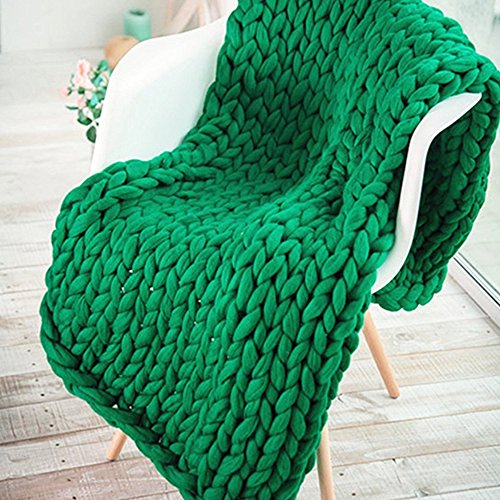 Handmade Big Super Chunky Blanket Chunky Knit Throw,Arm Knitted Blanket,Christmas Green Chunky Wool Yarn Blanket,Chunky Knit,Giant Blanket,Merino Wool Blanket by Popular Knit Chunky Blanket