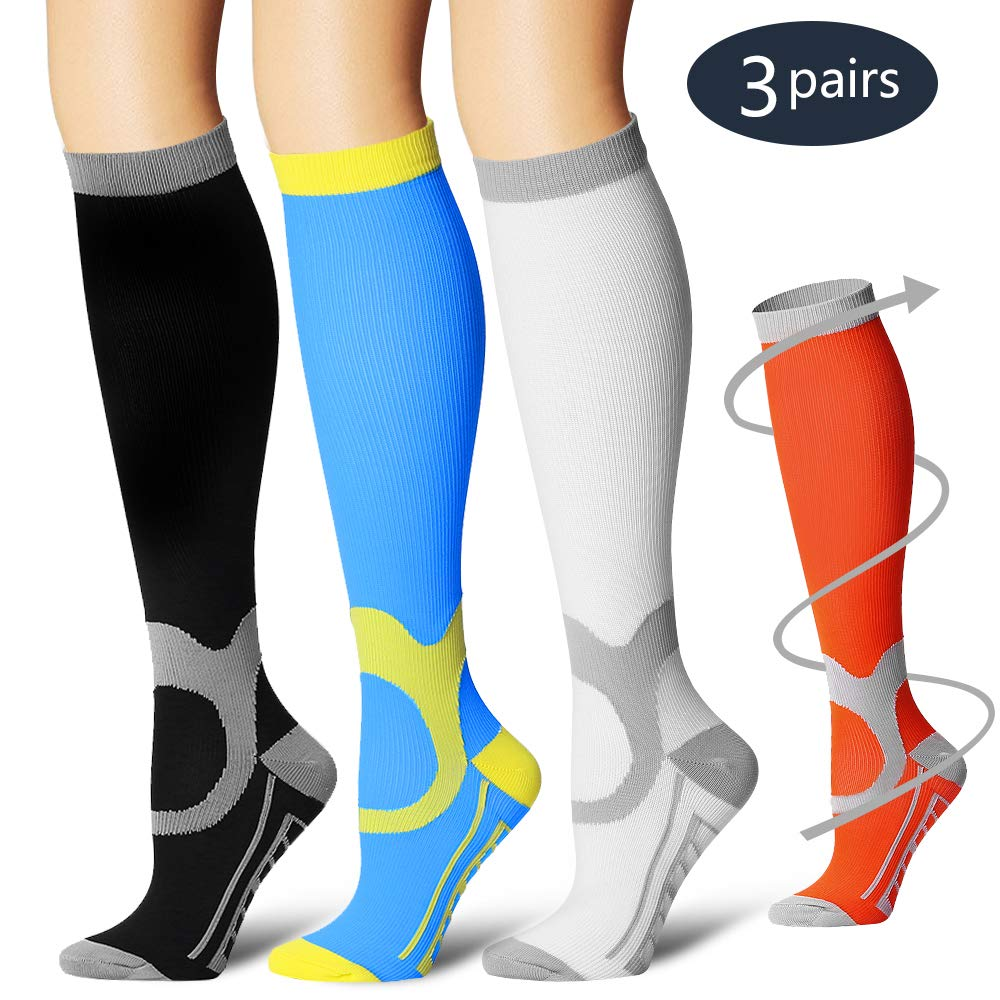 COOLOVER 3/7 Pairs Compression Socks Women & Men -Best Medical,Nursing,Travel & Flight Socks-Running & Fitness Pregnancy & Maternity by COOLOVER (Image #1)