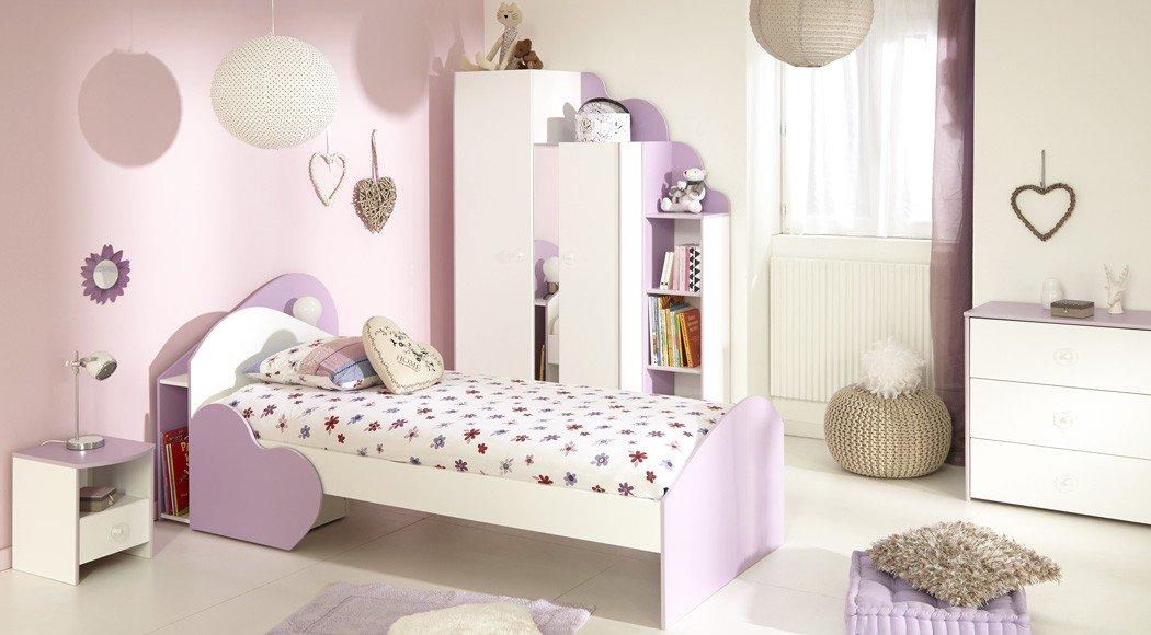 Kinderzimmer Milena 1 Weiss Lila Kinderbett 90x200 Kleiderschrank
