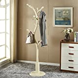 KSUNGB Clothes rail Bedroom Hangers Multifunction Tree shape Solid wood Clothes hat frame , white