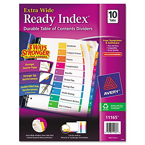 Avery Extrawide Ready Index Dividers, Laser/Ink Jet, 9.5 x 11 Inches, Assorted, 10 Tabs, 1 Set (11165) - Protectors Sheet Tabbed