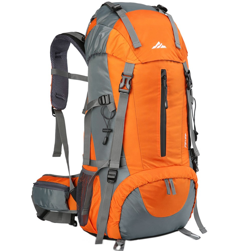 Seenlast 50L Unisex Travel Hiking Backpack Outdoor Sport Daypack Water-resistant Bag with Rain Cover for Climbing Camping Touring Mountaineering(Orange)