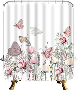 "Fabric Floral Shower Curtain Flower Shower Curtain Watercolor Pink Floral Wildflowers Plants with Butterfly Spring Shower Curtain Boho Shower Curtains For Bathroom Decor (Butterfly Floral, 70""L70""W)"