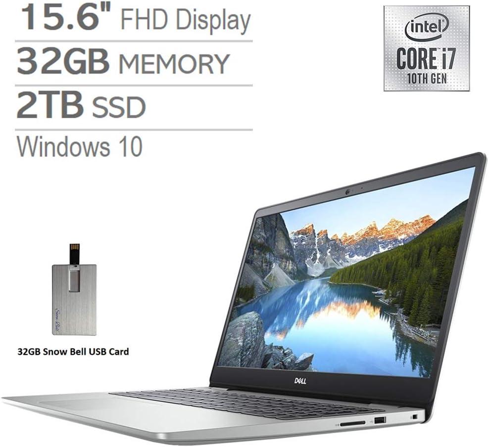 """2020 Dell Inspiron 15.6"""" FHD Laptop, Intel Core i7-1065G7 Processor, 32GB DDR4 RAM, 2TB SSD, Backlit Keyboard, MaxxAudio Pro, Webcam, HDMI, Windows 10 - Silver, Snow Bell 32GB USB Card"""