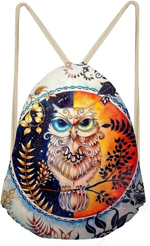 Cute Owl Printed Drawstring Backpack Travel Bags Daypack Sport Gym Shoulder Bag