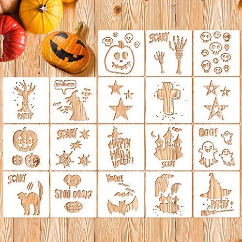 Koogel 18 PCS Halloween Stencils, 5.3 Inch Halloween DIY Decorative Stencils Painting Stencils Fall Stencils for DIY Card/ Craft Art Drawing Painting Spraying/ Window/ Glass/ Wood/Airbrush/Walls Art