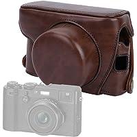Funda Protectora de Cuero de PU, Protector de Bolsa de Cubierta de cámara Profesional con Correa para el Hombro y Tornillo de 1/4 de Pulgada para Fujifilm X100F(café)