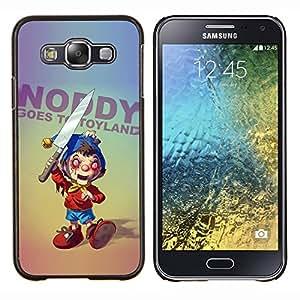 EJOOY---Cubierta de la caja de protección para la piel dura ** Samsung Galaxy E5 E500 ** --Creepy Cuchillo Toy Horror Slogan Ugly aleatoria