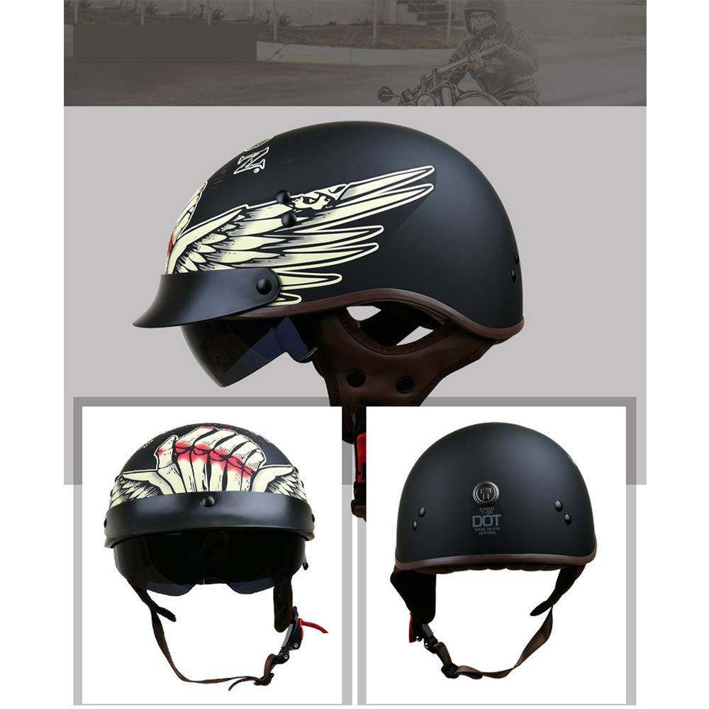 M,L,XL,XXL ,bull,M MMRLY Open Face motorcycle Half Helmet-D.O.T Certified personalized retro half helmet cruiser scooter Harley motorbike helmet for men and women