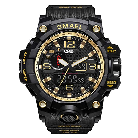 ZRSJ Relojes Hombre 50M waterproof reloj digital inteligente g shock hombre reloj deportivo reloj militar (Negro+oro): Amazon.es: Relojes