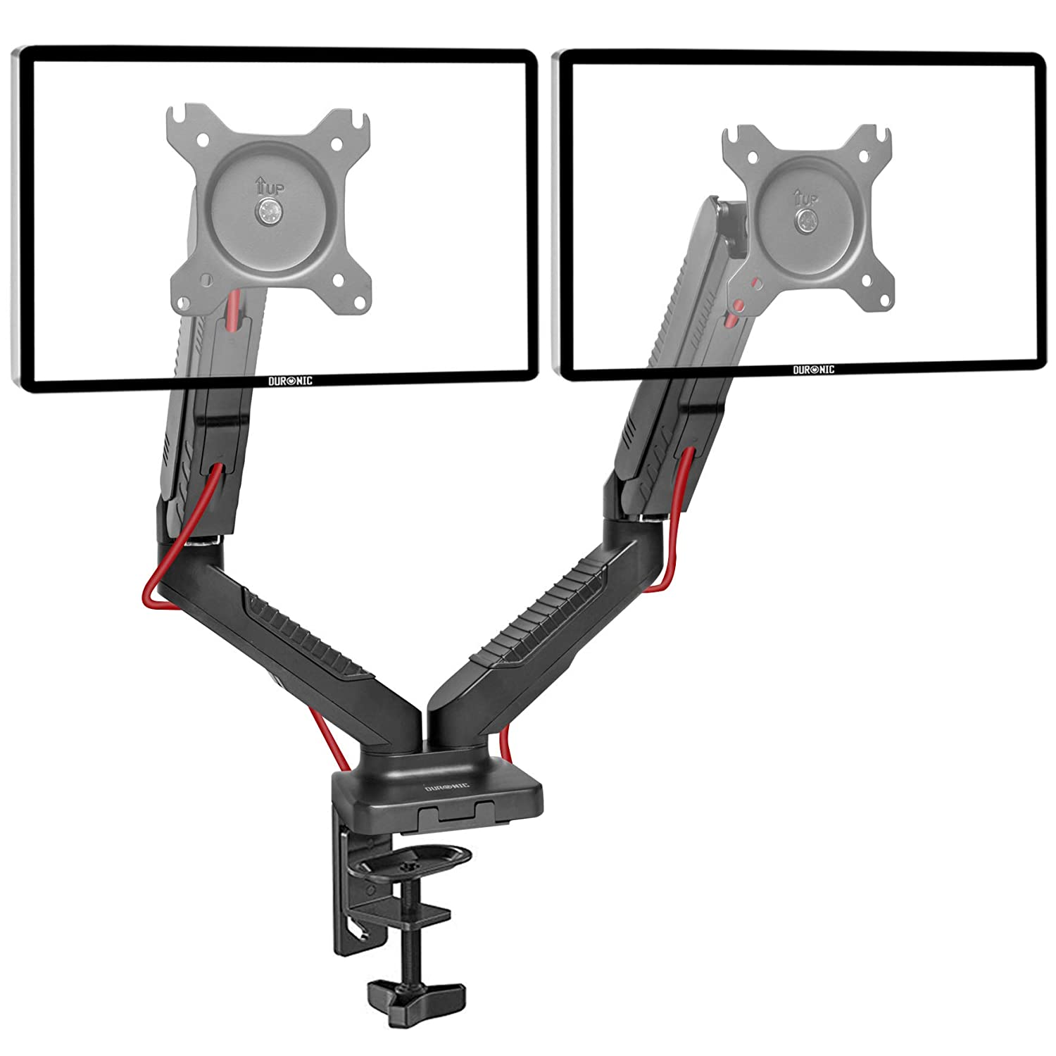 Duronic DMUSB5X1 Gas Powered Full Motion Single LCD LED Gas Desk Mount Arm Monitor Stand Bracket with Tilt and Swivel (Tilt -90°/+85°|Swivel 180°|Rotate 360°) + (USB | Headphone | Microphone) Extension Sockets
