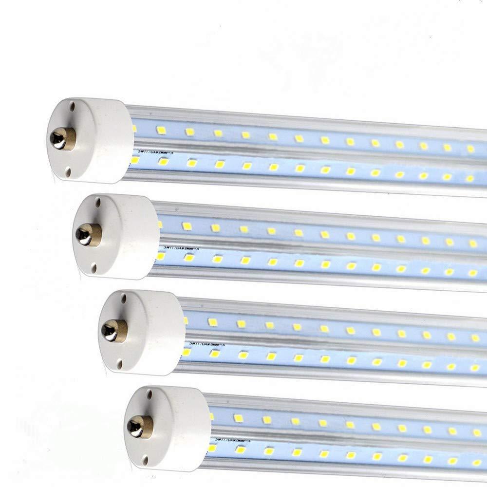 Single Pin 5FT V-Shape LED Tube Light 32W 6500K Clear Lens T8 57 3/4'' SMD 2835 (White - 10pc)