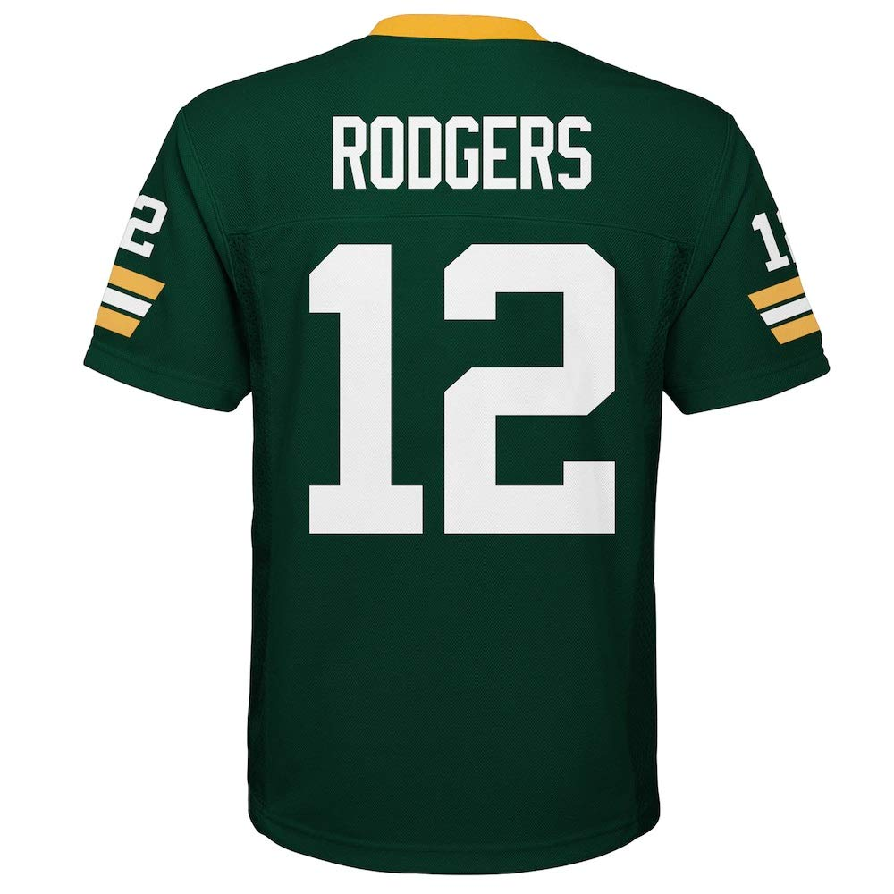 Aaron Rodgers Green Bay Packers NFL Kids Green Home Mid-Tier Jersey Size 5//6