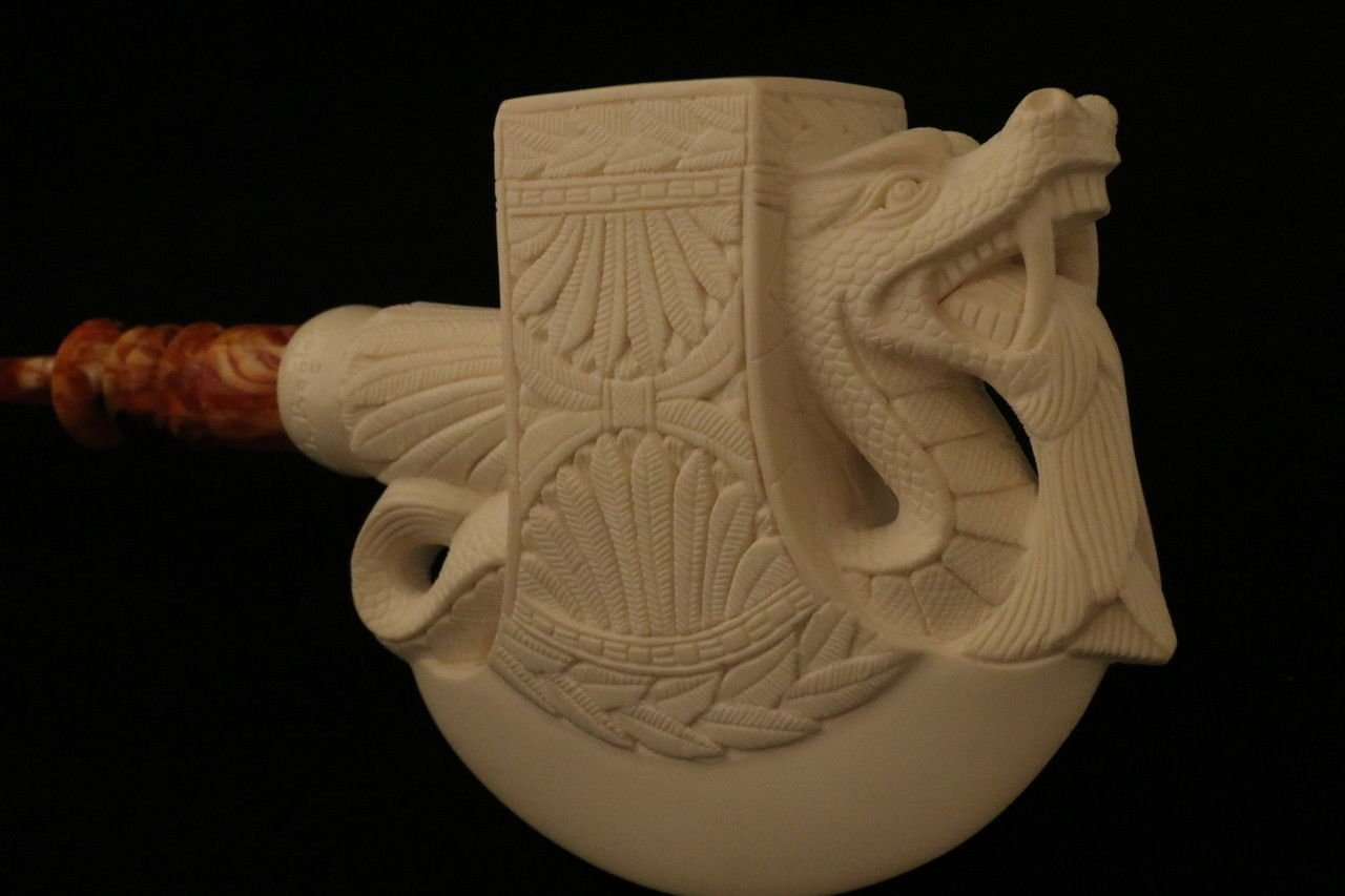 Meerschaum Pipe - Dragon Axe from Master Carver I. Baglan - Tobacco Smoking Pipe Hand Made from the Finest Block Meerschaum - New