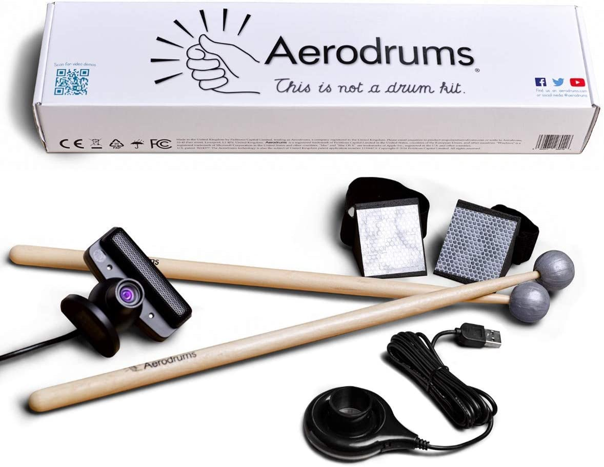 Aerodrums Digital Air Drums, Electronic Drum Kit with Virtual Reality Option, MIDI Support and Unlimited Drum Pieces