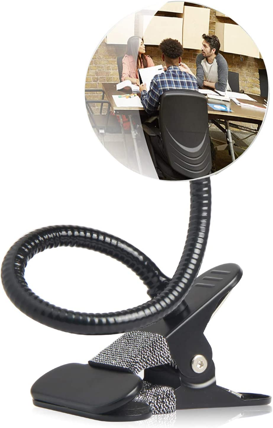 """Clip On Cubicle Mirror, Computer Rearview Mirror, Convex Mirror for Personal Safety or Security Cabinet Desk Rear View Monitors (3.35"""" Round) by CQNET"""