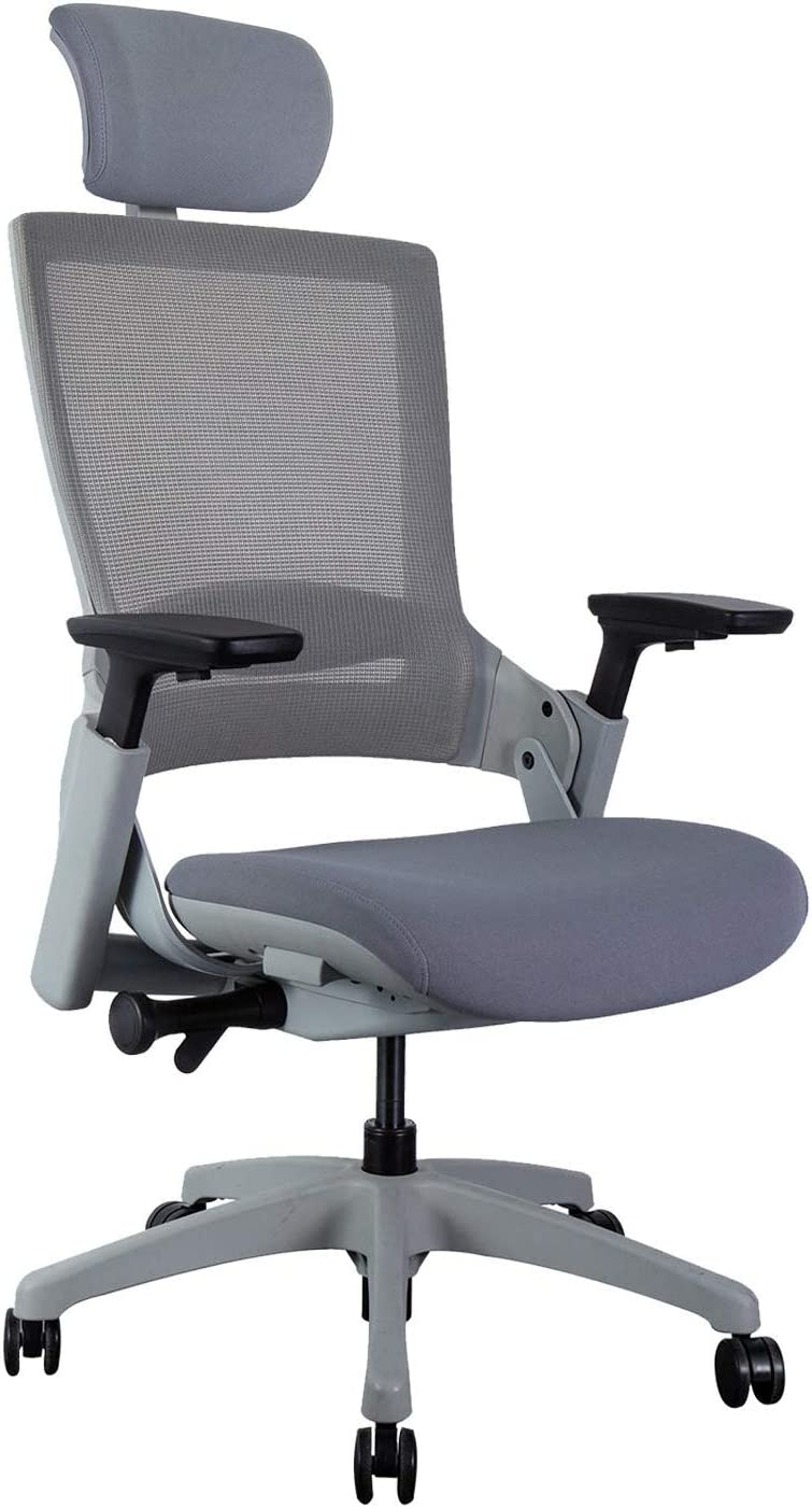 CLATINA Ergonomic High Swivel Executive Chair with Adjustable Height Head 3D Arm Rest Lumbar Support and Upholstered Back for Home Office Gray Mesh/High Back