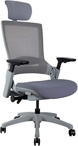 CLATINA Ergonomic High Swivel Executive Chair with Adjustable Height Head 3D Arm Rest Lumbar Support and Upholstered Back for Home Office BIFMA Certified Gray Mesh High Back