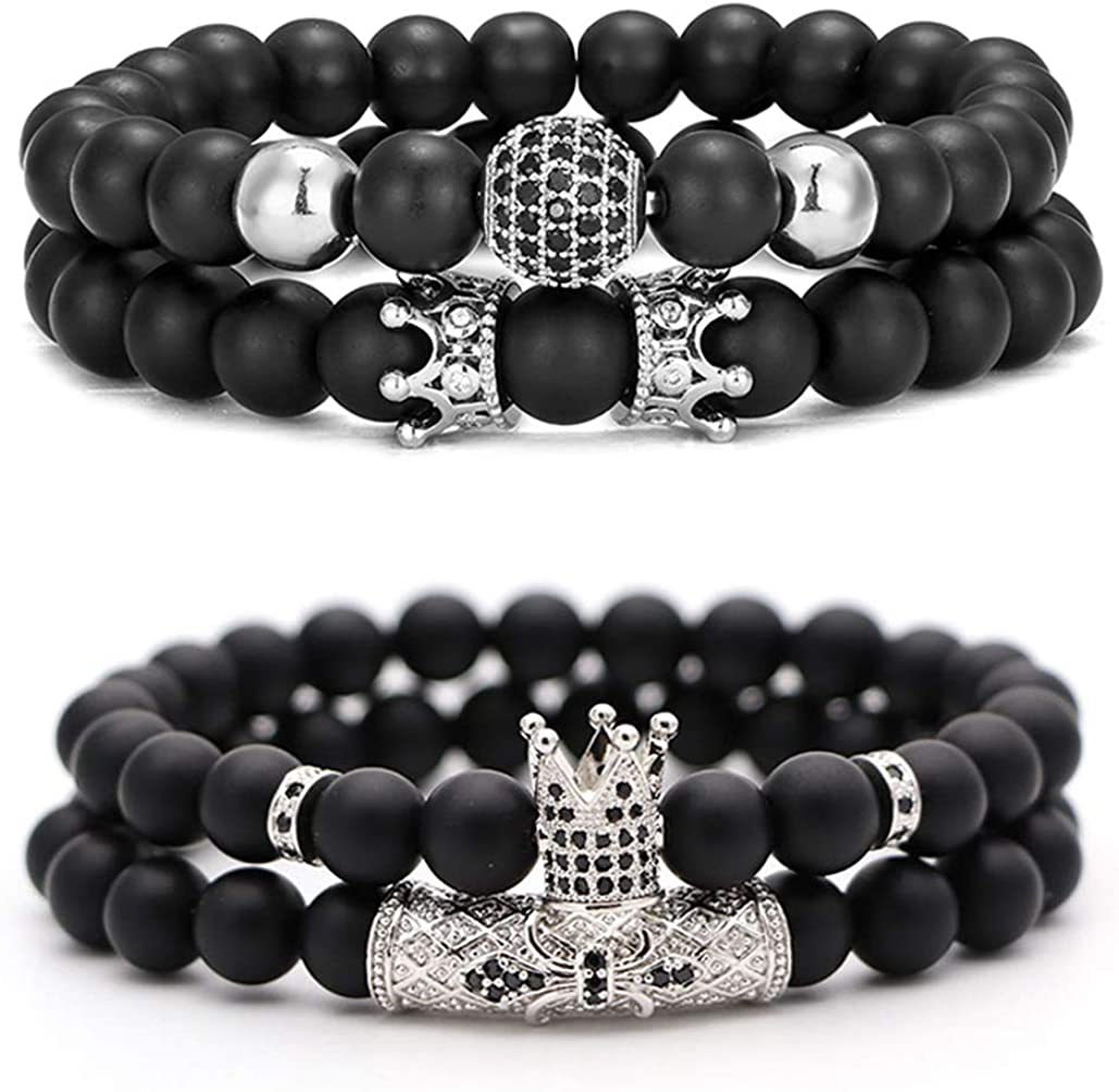 CARSHIER 4 PCS 8mm Crown King Charm Beads Bracelet for Men Women Natural Black Matte Onyx Stone Beads, 7.5""