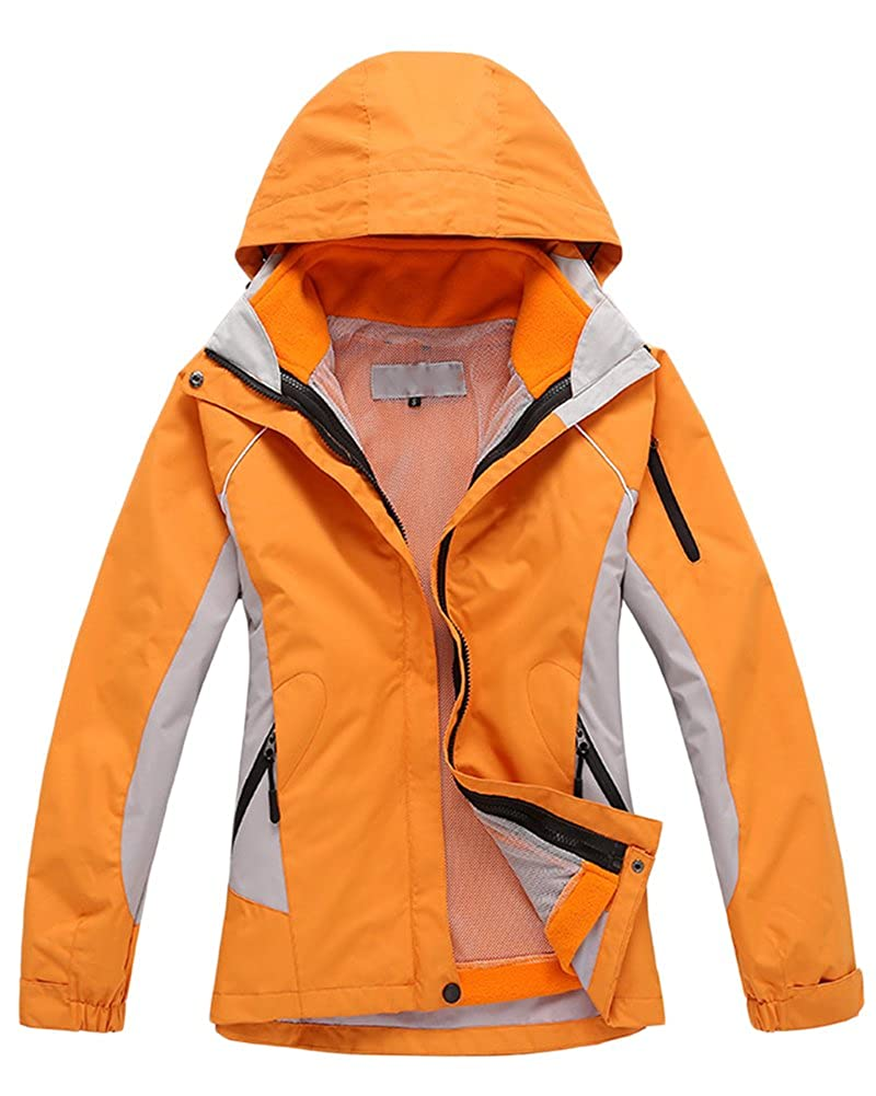Highly Breathable with Waterproof Fabric /& Taped Seams Detachable Multiple Pockets Qitun 3 in 1 Womens Outdoor Climbing Waterproof Jacket