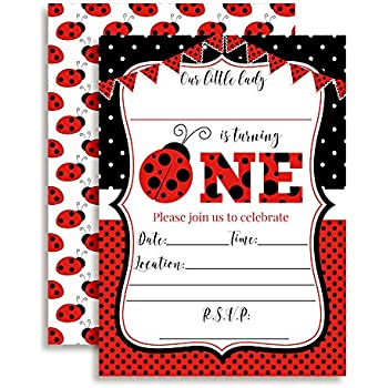 Amazon creative converting ladybug fancy birthday party red ladybug first birthday party invitations for girls ten 5x7 fill in cards with 10 white envelopes by amandacreation filmwisefo Gallery