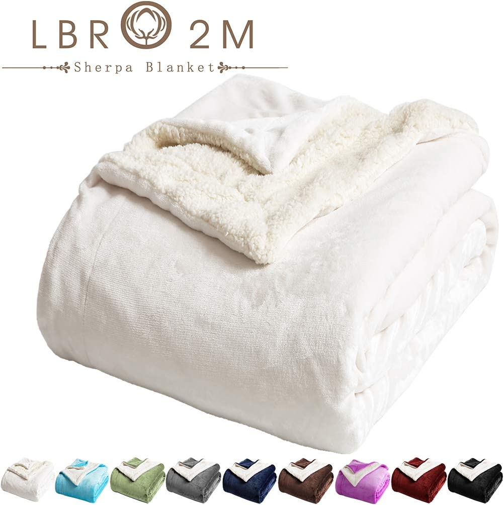 LBRO2M Sherpa Fleece Bed Blanket Queen Size Super Soft Fuzzy Plush Warm Cozy Fluffy Microfiber Couch Throw Velvet Double Reversible Luxurious Blankets (Ivory, Queen(90x90 Inches))